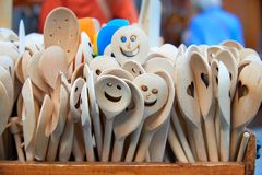 Set of funny wooden spoons Royalty Free Stock Image
