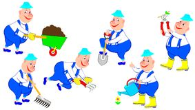Set of funny workers with different garden tools. Vector cartoon image. Scale to any size without loss of resolution Stock Image