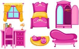 Set of furniture. Illustration of isolated set of pink furniture on white background vector illustration