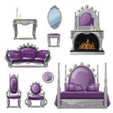 A set of furniture and accessories for living room interior in grey and purple. Vintage style. Vector illustration. A set of furniture and accessories for Stock Image