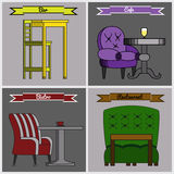 Set of furniture for bars, bistros, cafes and restaurants. Vector illustration Royalty Free Stock Photography