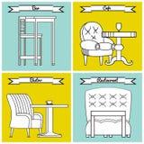 Set of furniture for bars, bistros, cafes and restaurants. Vector illustration Stock Photography