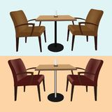 Set of furniture for bars and cafes tables and chairs. On a blue and yellow background. Vector illustration Stock Photos