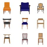 Set of chair icons. Set of furniture chairs isolated on white background Royalty Free Stock Photos