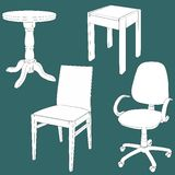 Set of furniture on the chalk board Royalty Free Stock Images