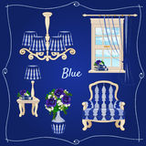 Set of furniture, five individual objects in blue Stock Images