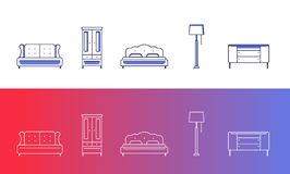 Set of 5 furniture and home decor icons. In 2 varients Royalty Free Stock Photo