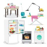 Set of furniture and household items. Fridge, stove, washing mac. Hine. Flat cartoon vector illustration Royalty Free Stock Image