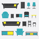 Set of Furniture Icon in Flat Design Royalty Free Stock Photo
