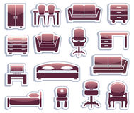 Set of furniture icons Stock Photography