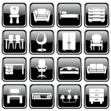 Set of furniture icons. Black brilliant buttons. Set of furniture icons Royalty Free Stock Photography