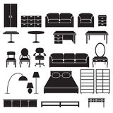 Set of furniture icons. Black silhouettes. Royalty Free Stock Images