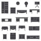 Set of furniture icons in flat design. stock illustration
