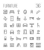 Set of furniture icons in modern thin line style. High quality black outline home symbols for web site design and mobile apps. Simple linear interior Stock Images