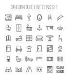 Set of furniture icons in modern thin line style. stock illustration