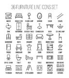 Set of furniture icons in modern thin line style. Stock Images