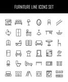 Set of furniture icons in modern thin line style. High quality black outline home symbols for web site design and mobile apps. Simple linear interior Stock Photo