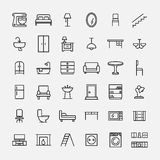 Set of furniture icons in modern thin line style. High quality black outline home symbols for web site design and mobile apps. Simple linear interior Stock Photos