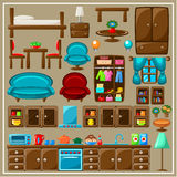 Set of furniture. Image set of furniture items for the living room stock illustration