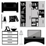 Set of furniture for interior furnishing. Furniture set, black and white gray items Stock Image