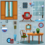 Set of furniture for the interior. Vector icons Stock Images
