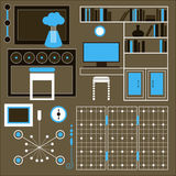 Set of furniture for the interior, vector image objects as furniture silhouette Stock Photo