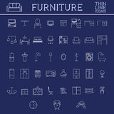 Set of furniture outline icons. Thin line design Stock Photo