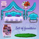 Set of furniture on a pink background Royalty Free Stock Images