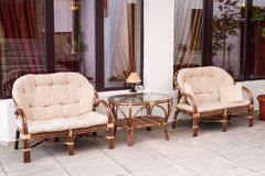 Set of furniture rattan Stock Image