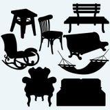 Set of furniture: rocking chair, stool, sofa, bench and hammock Stock Photos