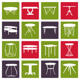 Set of furniture silhouettes.Table collection Stock Images