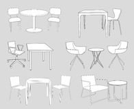 Set of furniture. tables and chairs. sketch vector. Sketch of modern interior table and chairs. vector illustration sketch of modern interior table and chairs Royalty Free Stock Photos