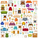 A set of furniture. Vector Icons. Vector set of furniture in flat style isolated on white background. A collection of furniture icons Stock Image