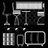 Set of furniture. vector icons in the form of silhouette furniture. Silhouettes of office furniture in a minimalist style Royalty Free Stock Photography