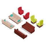 Set of Furniture Vectors in Isometric Projection Stock Photos
