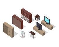 Set of Furniture Vectors in Isometric Projection Royalty Free Stock Images