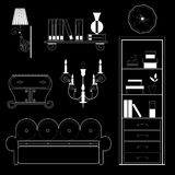 Set of furniture, white silhouette on a black background Stock Photo