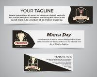Set futbolu amerykańskiego sztandaru szablon z logem, etykietką i odznaką piłki nożnej, Elegancki jaskrawy tożsamość projekt Best Obrazy Royalty Free