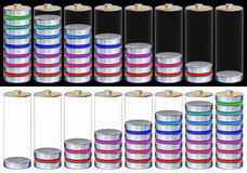 Set of the battery levels images Stock Images