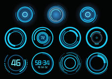 Set of futuristic blue infographics Stock Images