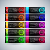 Set of 10 futuristic colorful banners with glowing circles. EPS10 vector template Royalty Free Stock Photography