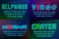 Set of futuristic vector decorative fonts, alphabet Stock Photo