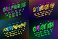 Set of futuristic vector decorative fonts, alphabet Stock Images
