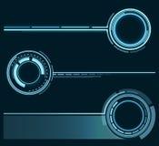 Set futurystyczni pierścionki Graficzni zasoby dla projektować fantastyczne sztuk pracy wektor Zdjęcie Stock