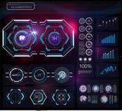 Set futurystyczny błękitny infographics jako głowa pokaz Wystawia nawigacja elementy dla app i sieci Futurystyczny interfejs użyt royalty ilustracja