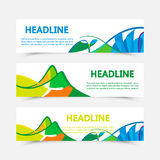 Set of fyers in Brazil flag colors. Set of fyers in colors of Brazil. Three color concept. Can be used in cover design, book design, website background, CD cover Royalty Free Stock Photos