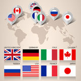 Set of G8 flags with map stock illustration