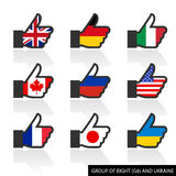 Set of G8 flags with shadow, like Royalty Free Stock Photo