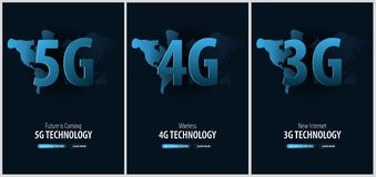 Set of 5G, 4G and 3G new wireless internet. Banner for Social Media. Vector Illustration. Set of 5G, 4G and 3G new wireless internet. Banner for Social Media royalty free illustration
