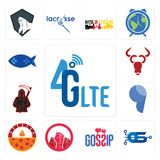 Set of 4g lte, operating system, gossip, social justice, brick oven pizza, comma, grim reaper, cattle company, fishing game icons. Set Of 13 simple editable Stock Image